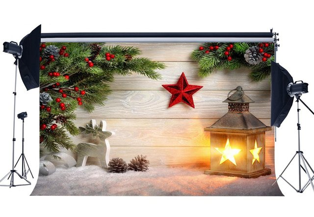 Photography Backdrop Christmas Reindeer Star Snow Red Berry Pine Twigs Wood Plank Xmas Backdrops Happy New Year Background