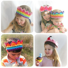Newborn Baby Knitted Crown Headwear Bebe Infant Handmade Crochet Headband Rainbow Colorful Hairband Toddler Photo Props(China)