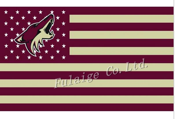 Phoenix Coyotes Flag With No Stars Stripes NHL Flag 3x5 ft custom Banner 90x150cm Sport flag Stainless Steel Grommets