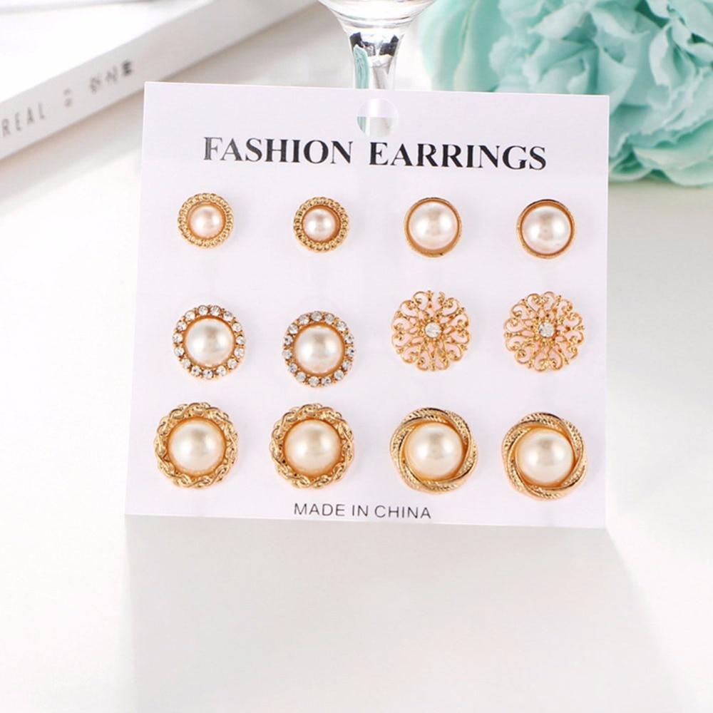 Lovely 6 Pcs/set Punk Fashion Stud Earrings Set For Women Elegant Mixed Crystal Flower Bow Metal Ball Earings Jewelry #242465 Jewelry & Accessories Earrings