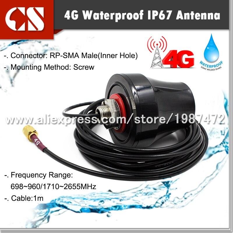 imágenes para 2G 3G 4G LTE Omni-Direccional 700-2600 MHz Multibanda Antena Exterior RP-SMA macho (agujero interior) 1 m cable