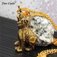 Men của vàng titanium thép howling wolf mặt dây động vật 3d wolf howls vào ban đêm hip hop vòng cổ của phụ nữ mt1508
