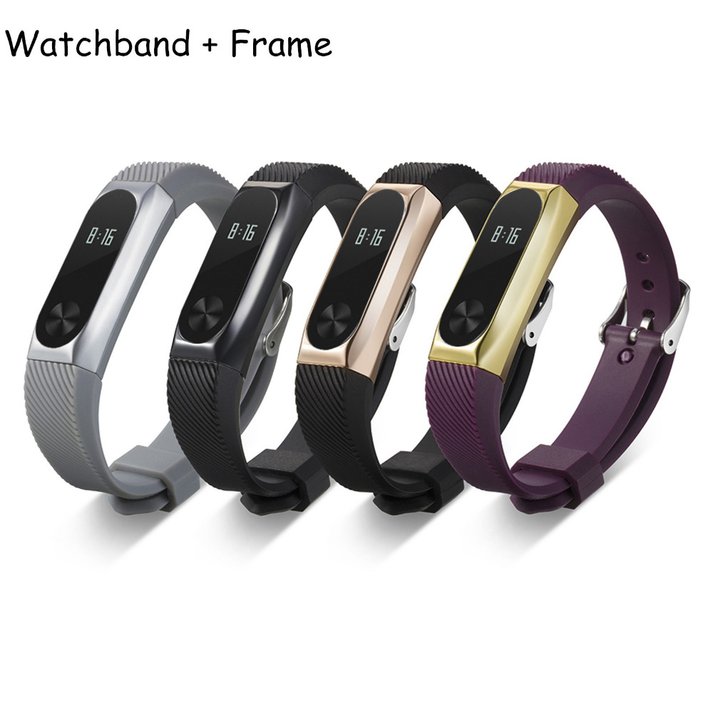 Stainless Steel Protective Case Cover Holder Silicone Wrist Bands Strap for Xiaomi Mi Bands 2 bands
