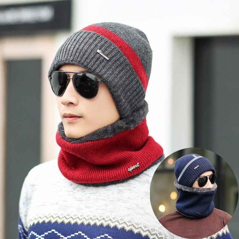 Men's Scarf Sets Apparel Accessories 2pcs Winter Beanies Men Scarf Caps Knitted Hat Sets Mask Gorras Bonnet Warm Baggy Winter Hats Skullies Beanie For Men Women Hats