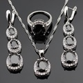 Silver Color Jewelry Sets For Women Christmas Black White AAA Cubic Zirconia Necklace Pendant Rings Earrings Free Gift Box