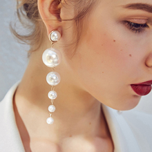 Big Simulated Pearl Long Earrings