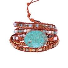 Women Leather Bracelet Unique Mixed Natural Stones Gilded Stone Charm 5 Strands Wrap Bracelets Handmade Boho Dropship