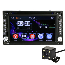 GPS Navigation 800*480 2Din HD Car Stereo DVD CD Player Bluetooth Auto Radio iPod With Rearview camera E#A3