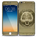 for iPhone 6 6S 6 Plus Tempered Glass + 3D Plating Carbon Fibre Full Body Skin Sticker Front Back Cover Film Cool Tiger head