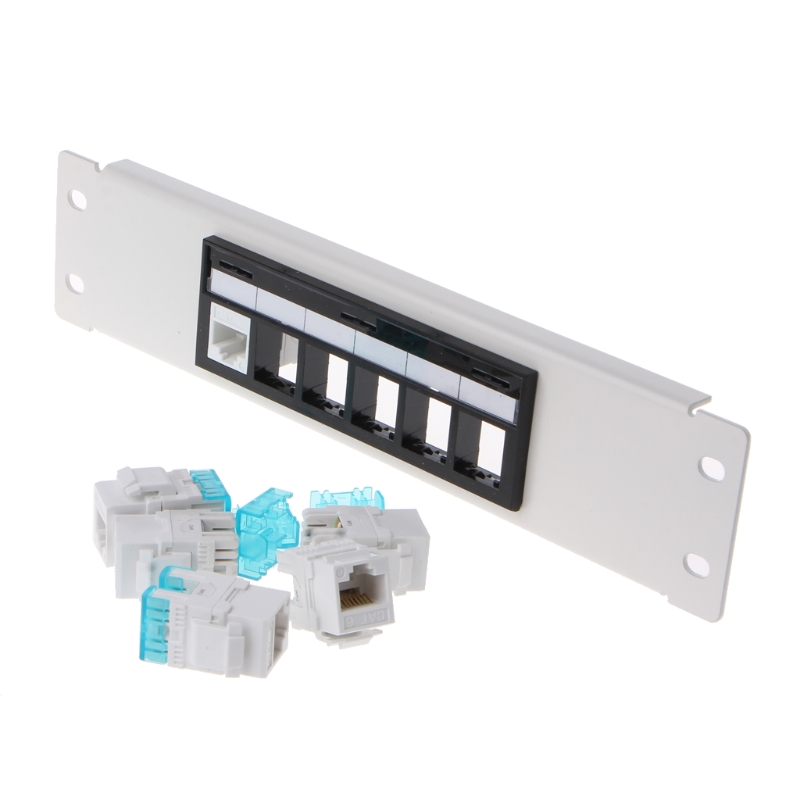RJ45 CAT6 6 Ports Patch Panel Frame With RJ45 Keyston Module Jack Connector title=
