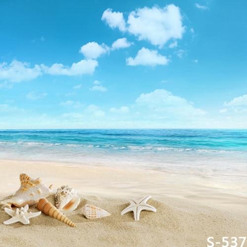 8x8ft Cielo Blu Sabbia Di Mare Spiaggia Shell Stelle Marine Estate