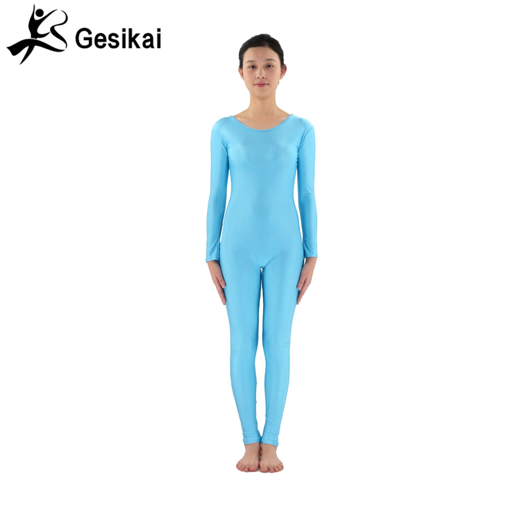 24 Hrs Shipped Out Womens Unitards Round Collar Back Zipper Nylon Dancewear Suits Womens Yoga Costumes