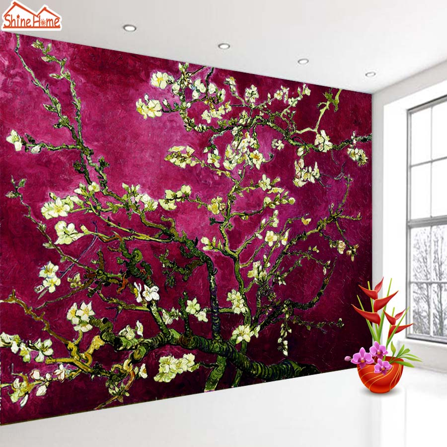 ShineHome-Dark Red Van Gogh Almond Blossom Wallpaper Rolls for 3d Walls Wallpapers for 3 d  Living Rooms Wall Paper Murals shinehome lovely lily blossom flower wallpaper for bedroom murals roll for 3d walls wallpapers for 3 d living room wall paper