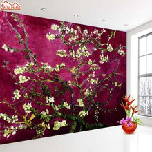 ShineHome-Dark Red Van Gogh Almond Blossom Wallpaper Rolls for 3d Walls Wallpapers for 3 d Living Rooms Wall Paper Murals(China)