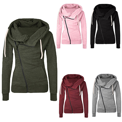 Women Lady Winter Long Sleeve Warm Zipper Pullover Slim Fit Coat Sweatshirt Top