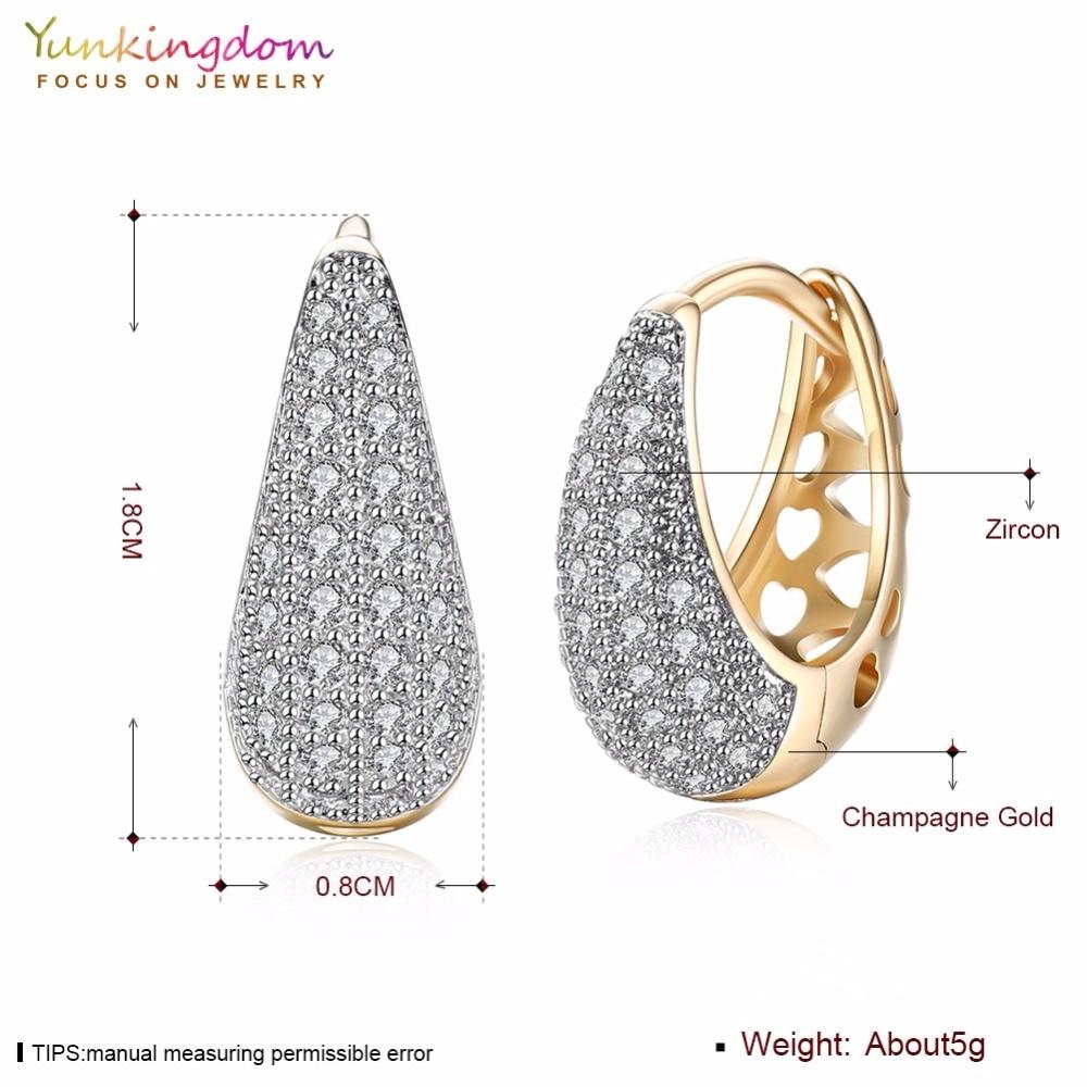 Yunkingdom Water Drop Design Koło Hoop Kolczyki dla Kobiet Elegancka - Modna biżuteria - Zdjęcie 2