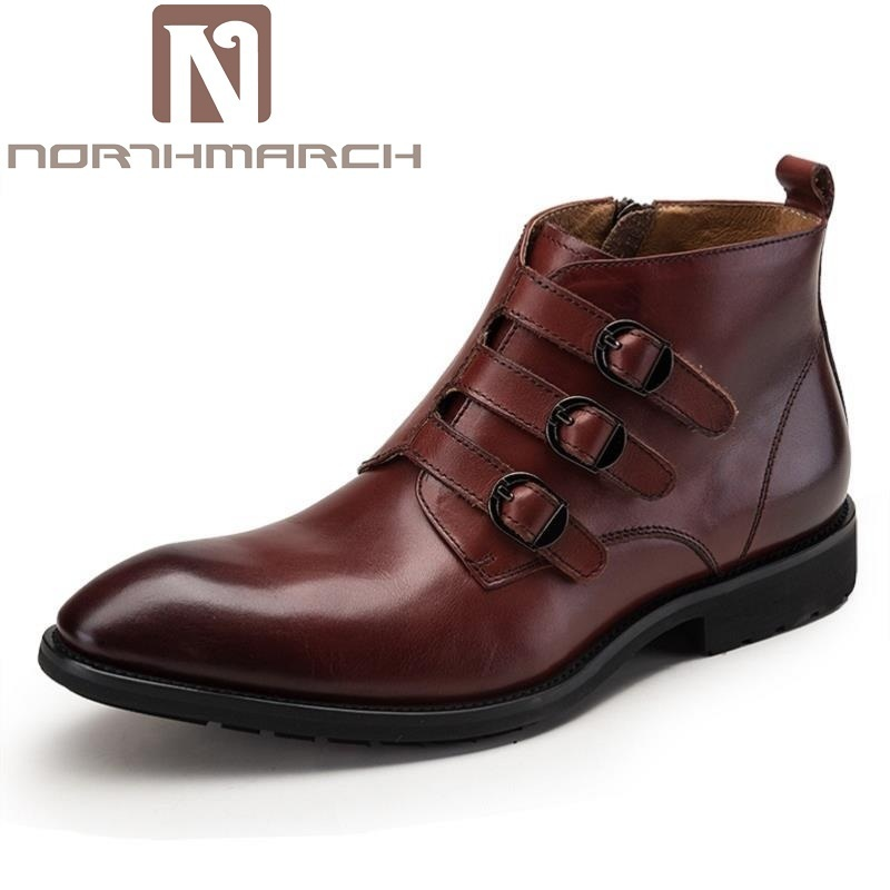 все цены на NORTHMARCH Handmade Winter Buckle Chelsea Boots Ankle Shoes Cowhide Leather Wedding Party Dress Boots Shoes Motorcycle Men Botas