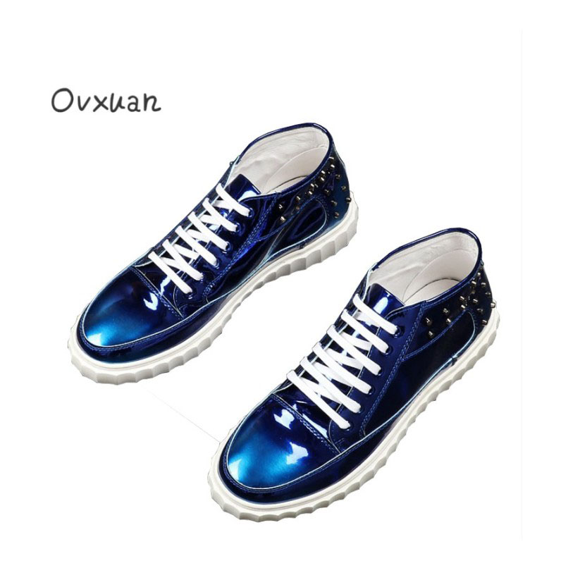 Ovxuan Men Leisure Shoes Glitter Street Male Sneakers Italian Rivets High Top Mens Dress Shoes Sneakers Casual Patent Leather