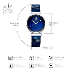 Image 5 - 2018 SHENGKE New Women Watches Blue Mesh Strap Luxury Design Quartz Watches Ladies Fashion Watch Relogio Feminino Gift For Girl