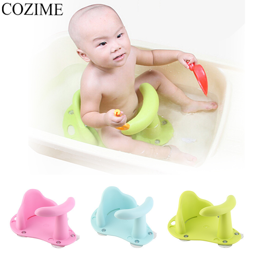 COZIME Baby Bathtub Anti Slip Seat Safety Chair Plastic Kids Mat Cushion Portable Non-slip Pad Children Bath Tub Baby Care bath seat dining chair baby inflatable kids sofa baby chair portable baby seat chair play game mat sofa kids inflatable stool