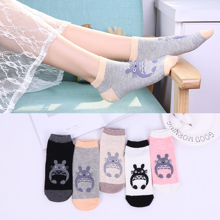 5 Colors Totoro My Neighbor Totoro Women   Socks   Spring Cotton Cartoon Funny   Socks   Girls Student Comfortable Cute Kawaii High New
