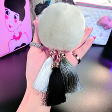 2016 Fashion Women Rabbit Fur Cony Hair Ball Pompom Charm Thrice Tassel Keychain Handbag Key Ring Pendant Gift