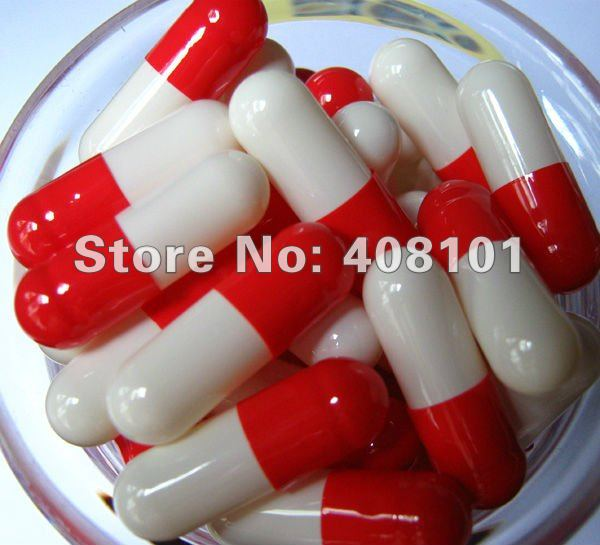 (10,000pcs/lot) Size 00 Red/white Color Gelatin Capsule Shell, Empty Capsule--- Cap And Body Separated