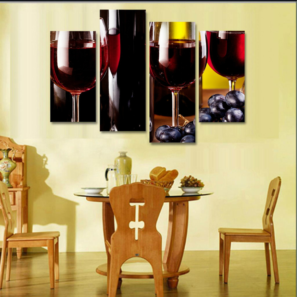 Print Canvas Painting wine glasses drink bottle alcohol Wall Art ...