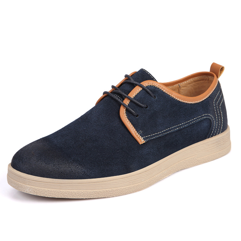 100% Genuine Suede Leather Shoes Men Casual Oxfors Shoes, England Styles Homber Flats Brand Spring Autumn Leisure Flat top brand high quality genuine leather casual men shoes cow suede comfortable loafers soft breathable shoes men flats warm