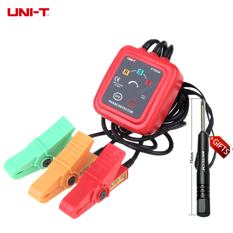UT262A Non-Contact 3 Phase Sequence Rotation Detectors Tester Indicator Detector Meter LED Display + Buzzer UNI-T 1 7 lcd non contact phase detector black 2 x aa