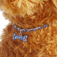 Fashion Crystal Diamante Bone Rhinestone Pendant Pet Necklace Collar Dog Jewelry 3 Sizes Pet Accessories