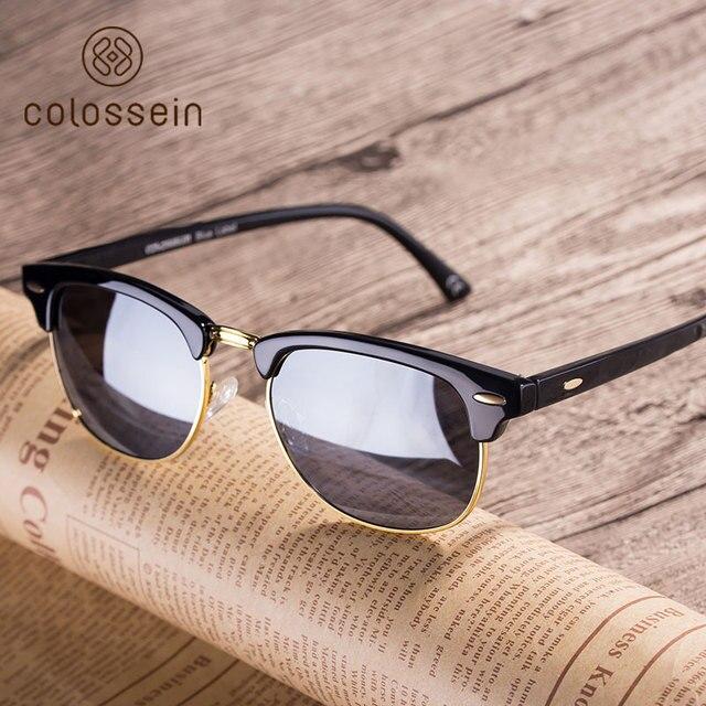 Colossein Retro Polarized  Sunglasses Men Women Oval Vintage Metal Frame Multicolor Round Lens Eyewear