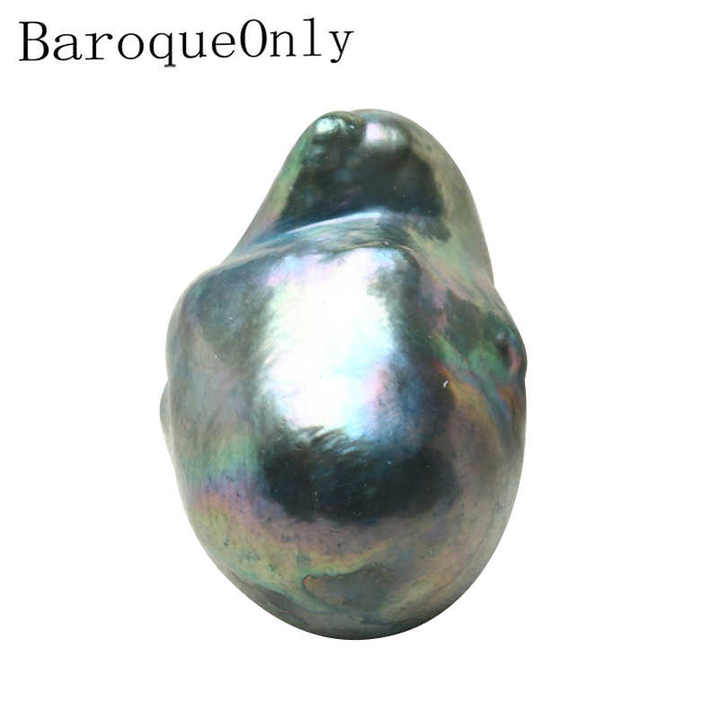 BaroqueOnly Baroque Nuclear Tail Pearl Peacock Blue Special Color about 13~20mm Freshwater Real Pearl Diy Materials BZK