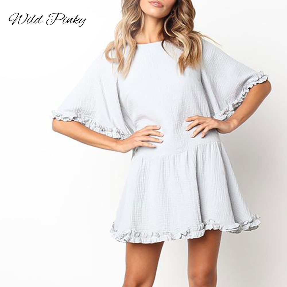 Cuerly Elegant Solid Ruffles Women Dress Half Sleeve Loose Casual Summer Dress O neck High Waist Sexy Dress Ladies Dresses L8 in Dresses from Women 39 s Clothing