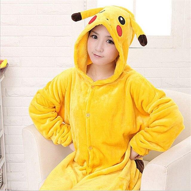 Pajamas Animal Pijama Licorne Women's Pikachu Full Sleeve Hooded Polyester Pajama Sets Women Nightwear Animal Pajamas For Adults