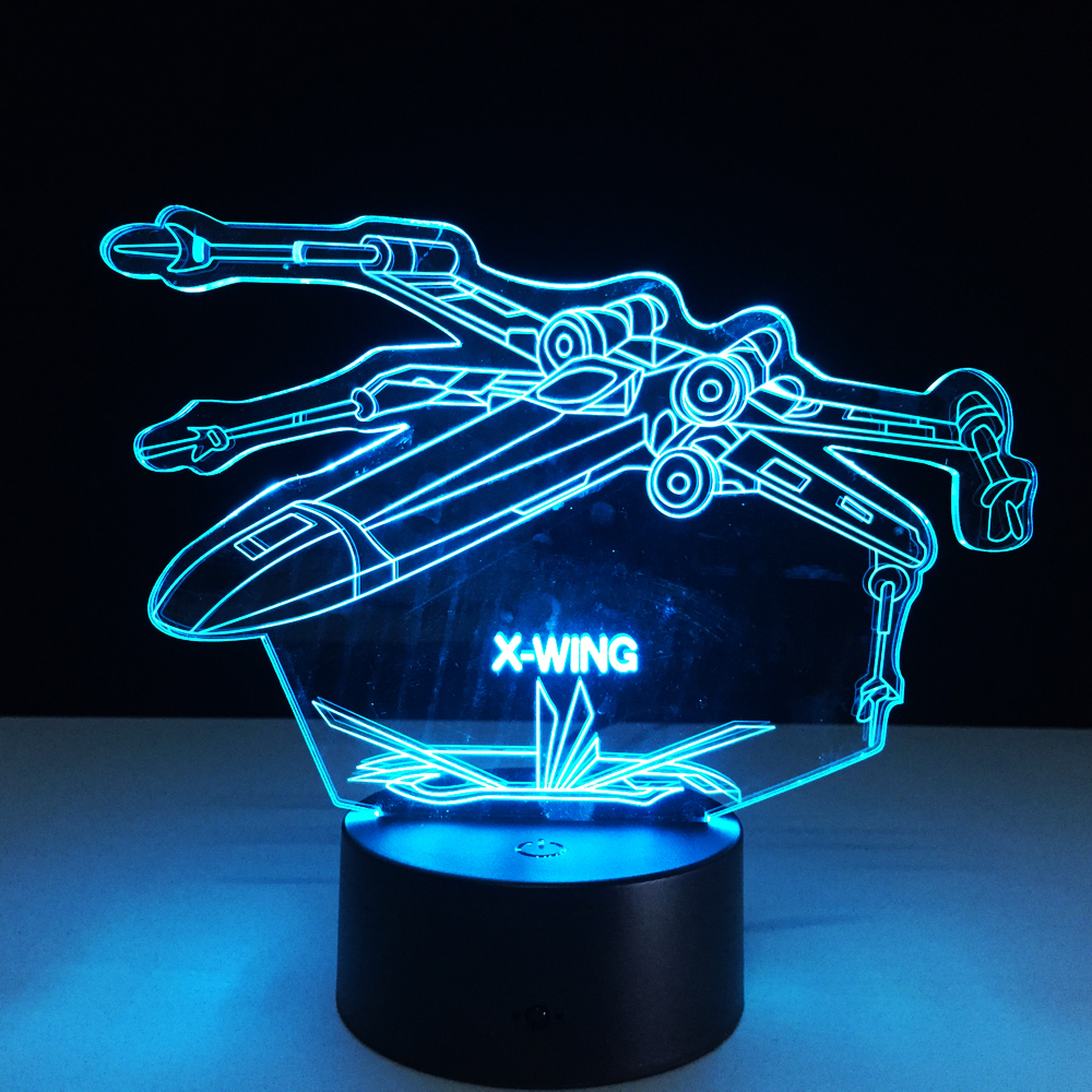 Us 11 51 36 Off Star Wars 3d X Wing Fighter Desk Lamp Laser Engraved Color Changing Night Light Bedside For Child Dropshipping In Led Night Lights