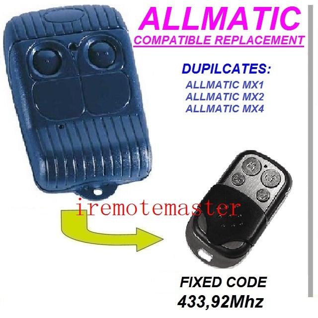 Allmatic mx1 mx2 mx4 garage door replacement remote control