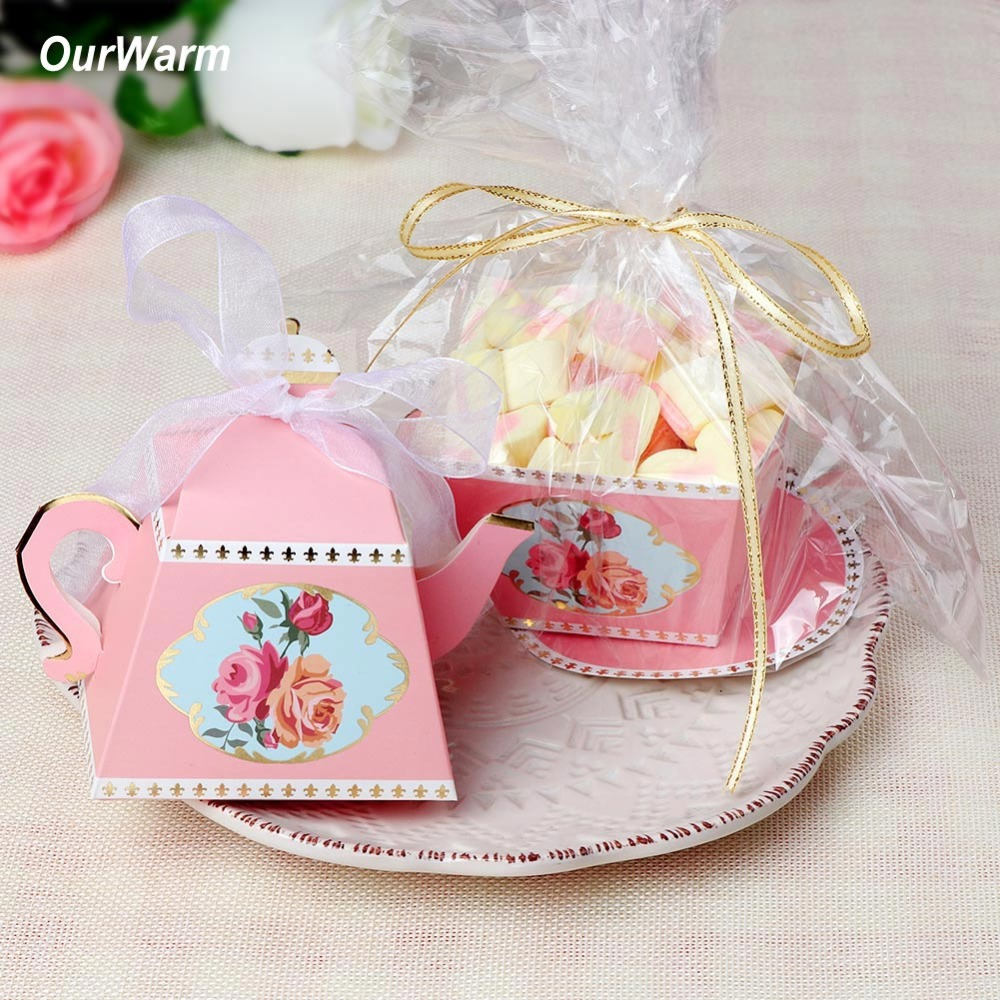 10pcs/lot Creative Teapot Shape Sweet Candy Box With Ribbon DIY ...