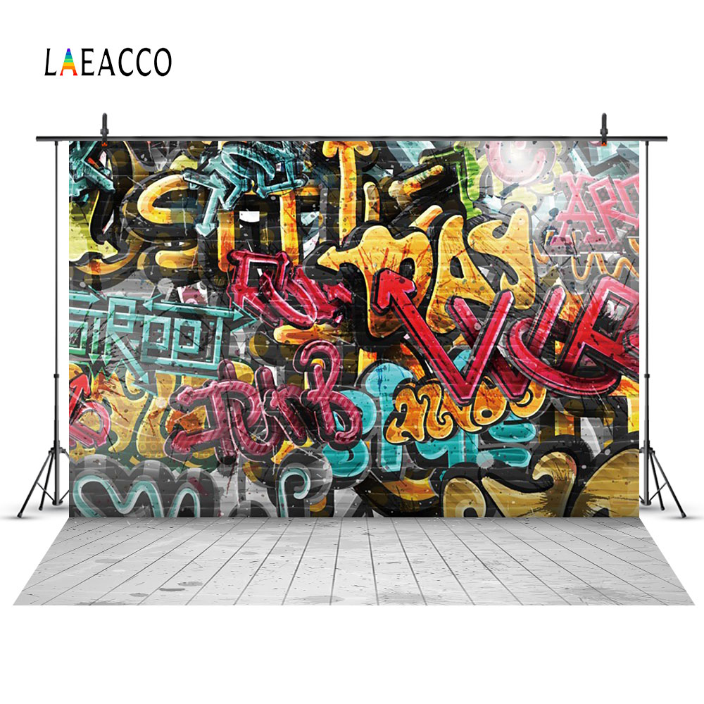 Laeacco Grunge Graffiti Brick Wall Floor Scenery Portrait Photography Backgrounds Custom Photographic Backdrops For Photo Studio spring easter photography backdrops 5 ft x 8 ft vinyl print photo studio portrait photographic background for children f 086