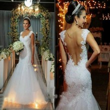 Vestido De Novia 2018 Cap Sleeve Mermaid Lace Appliqued Transparent Back bridal gown vestidos mother of the bride dresses
