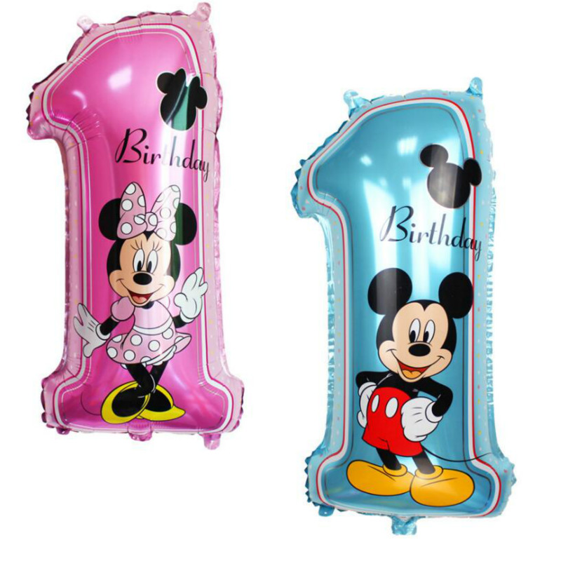 1st Cute Mickey Minnie Mouse Foil Balloons Birthday Party Decorations Supplies Helium Globos Baloes Pink Minnie Ballons