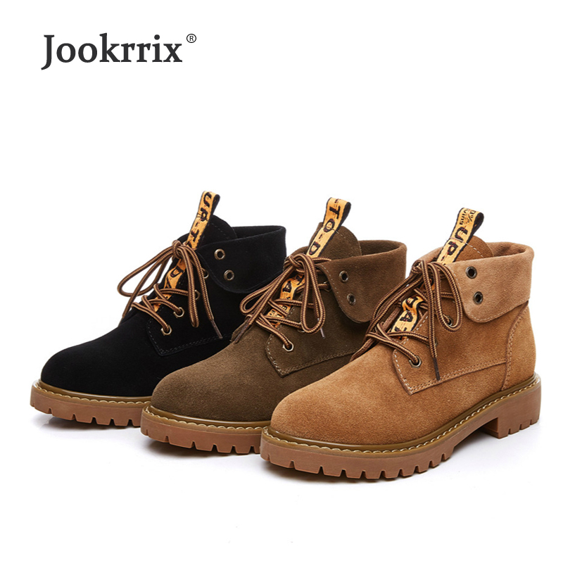Jookrrix 2018 Casual Real Leather Shoes Women Brand Martin Boots Lady Ankle Boots Winter Warm footware Female chaussure with Fur
