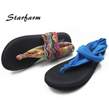 2017 Women Yoga Sole Sling Thong Sandals Beach Flip Flops Sandals Flat Sandalias Mujer Shoes Elastic Strap Female Summer Shoes