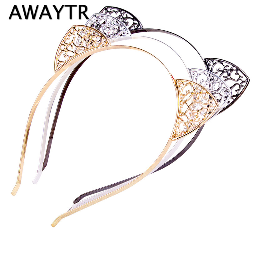 AWAYTR Metal Women Hair Hoops Cat Ears Hairband Rhinestone Princess Heart Shaped Hollow Hairband Gold Plated Hair Jewelry kicute 1pcs fountain pen with silver meteor point high quality office school stationery supplies for writing gift for students