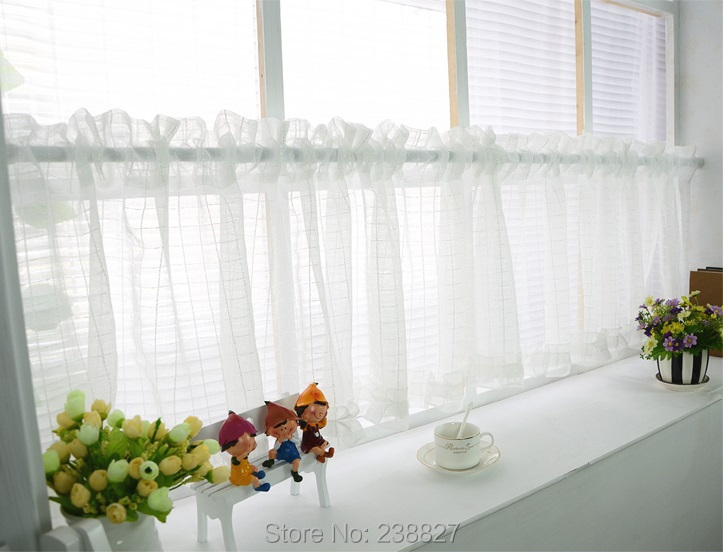 Nieuwe witte korte gordijn keuken vitrages tule venster kleine voile