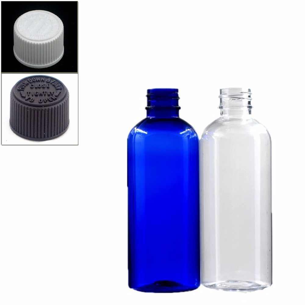 100มิลลิลิตรขวดพลาสติกที่ว่างเปล่าสีฟ้า/ล้างpetขวดที่มีสีดำ/ขาวหมวกทน,ที่มีฝาปิดความปลอดภัยของX5
