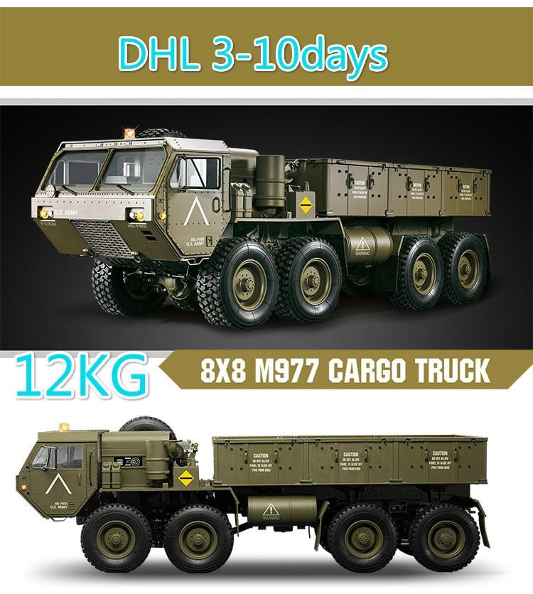 Charge 10Kg 1:12 Simulation militaire carte modèle 8 roues motrices militaire carte remorquage modèle RC télécommande véhicule jouets pour adolescents
