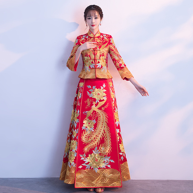 Red Bride Traditions 2018 Traditional Evening Gown Chinese Fashion ...