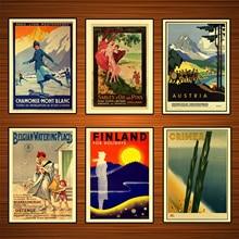 Pósteres de viaje del mundo Retro Chamonix esquí adhesivo mural clásico lienzo pinturas decorativo Vintage Poster hogar Bar decoración regalo