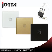 Remote Dimmer Switches 220V White Gold Black Glass Panel UK 1Gang1Way Remote Sensor Light Switch Remote